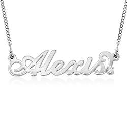 Lite navnesmykke med diamant i Carrie-stil - sølv produktbilde