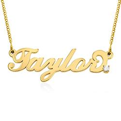 Lite navnesmykke med diamant i Carrie-stil - gull vermeil produktbilde