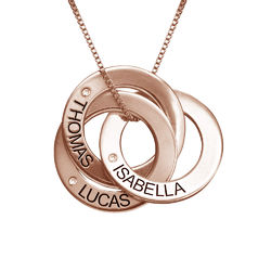 Rosegull forgylt russisk ring halskjede med gravering og diamant produktbilde