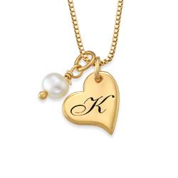 Hjertesmykke med bokstav og perle i gullbelegg produktbilde