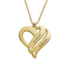 Halskjede med to hjerter og diamanter i gullbelegg produktbilde