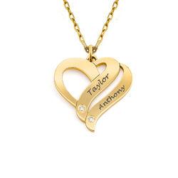 Halskjede med to hjerter og diamant i 10K gull produktbilde