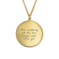 Gullbelagt medaljongsmykke med kjærlighetserklæring produktbilde