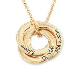 Russiske ring halskjede i gullbelegg - buet 3D-design produktbilde