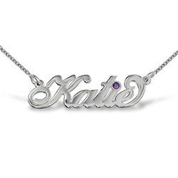Carrie-Style navnesmykke med krystall i sølv produktbilde
