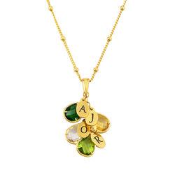 Fødselsstein smykke til mamma med bokstav anheng i gull-vermeil produktbilde