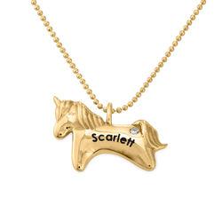 Enhjørning smykke for jenter i 10k gult gull med cubic zirconia produktbilde