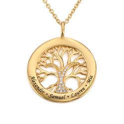 Runde livets tre smykke med kubisk zirconia i gull vermeil produktbilde