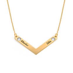 Personlig mamma smykke med krystall i gullforgylt produktbilde