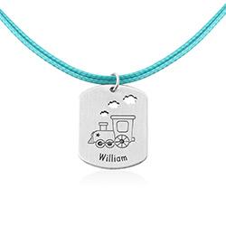 Personlig Dog Tag med tog i sterling sølv produktbilde