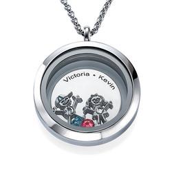 Medaljong for mor med barnecharms produktbilde