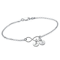 Infinity-armbånd / ankelbånd med bokstav i sølv produktbilde