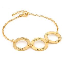 Graveret armbånd med 3 sirkel anheng i gullforgylt produktbilde