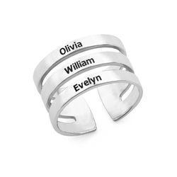 Tre ringer med navn i sølv produktbilde