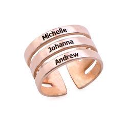 Tre ringer med navn i rosegullbelegg produktbilde