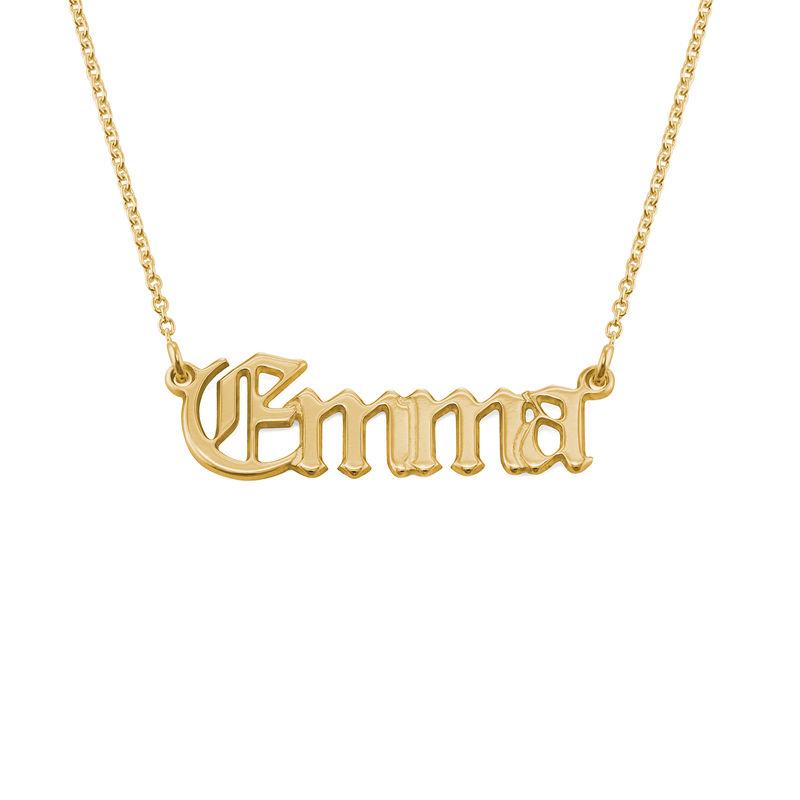 Namnhalsband i Gotisk Stil i 18K Guldpläterat Silver