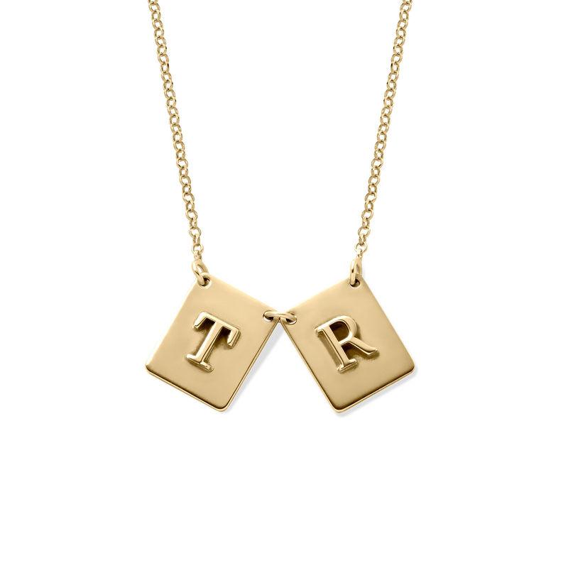 Personligt halsband med bokstav i guldplätering