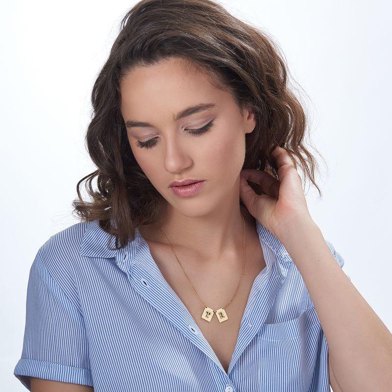 Personligt halsband med bokstav i guldplätering - 1
