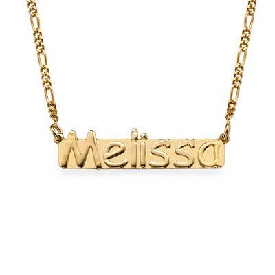 Namn halsband med namnbricka i guldpläterat silver