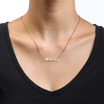 Namn halsband med namnbricka i guldpläterat silver - 1
