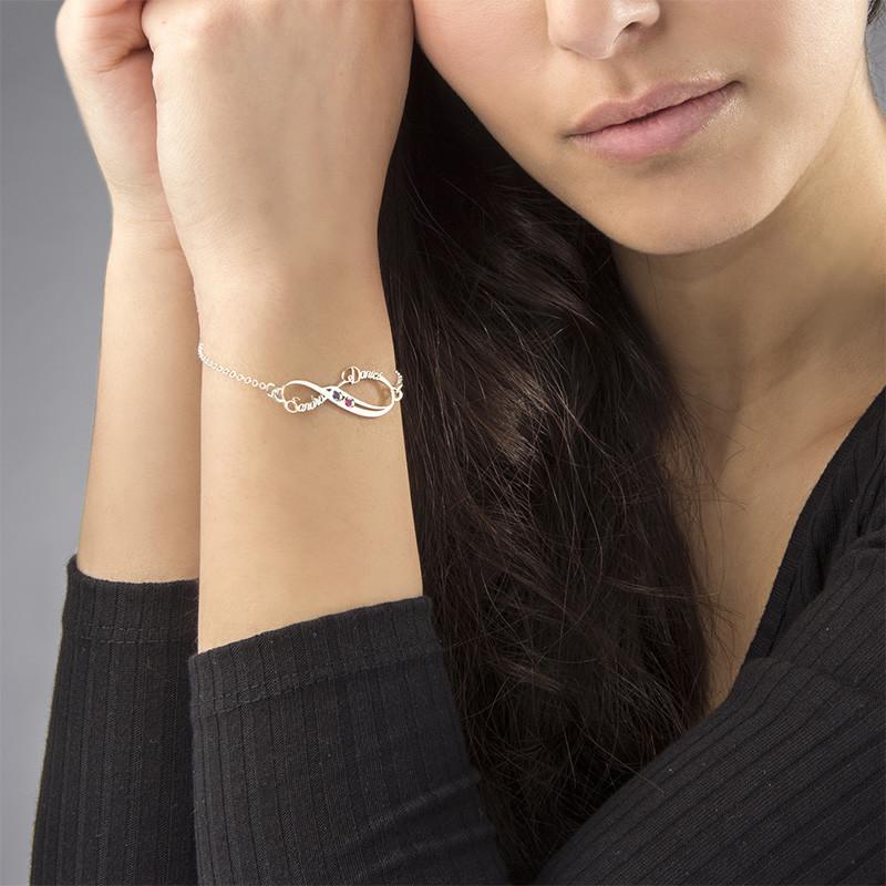 Infinityarmband med namn med månadsstenar - 2