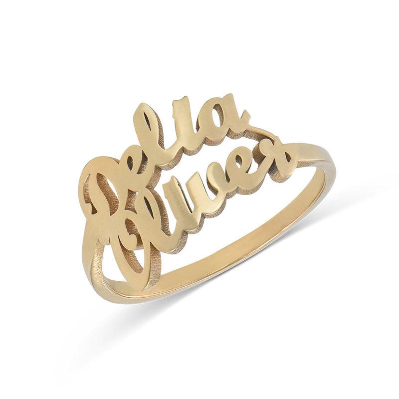 Personlig ring i guldplätering med två namn