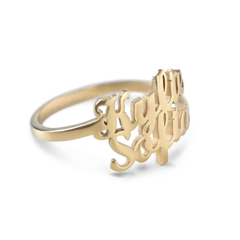 Personlig ring i guldplätering med två namn - 2