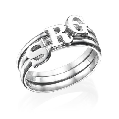 Initial Ring i Sterling Silver - 3