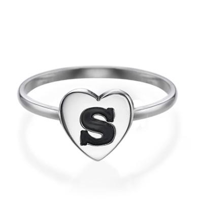 Stapelbar ring med bokstav och hjärta i Silver - 1