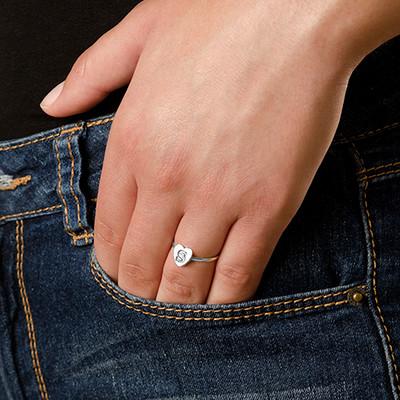 Stapelbar ring med bokstav och hjärta i Silver - 2