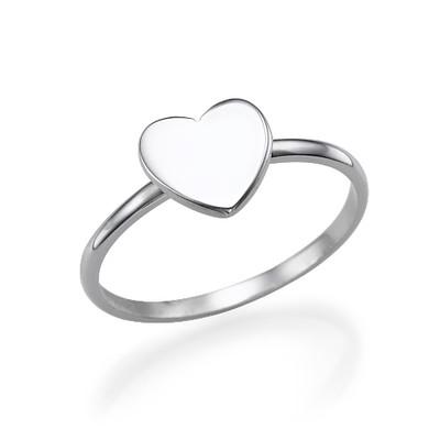 Stapelbar ring med bokstav och hjärta i Silver - 3