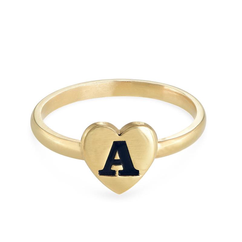 Stapelbar ring med bokstav och hjärta i 18K guldplätering - 1