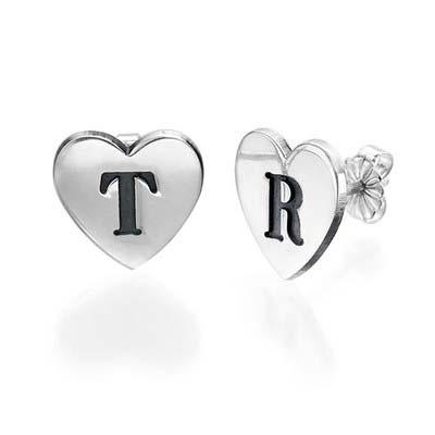 Bokstavs Örhängen med Hjärta i Silver