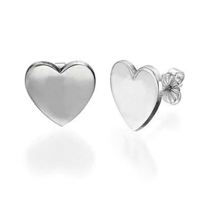 Bokstavs Örhängen med Hjärta i Silver - 1