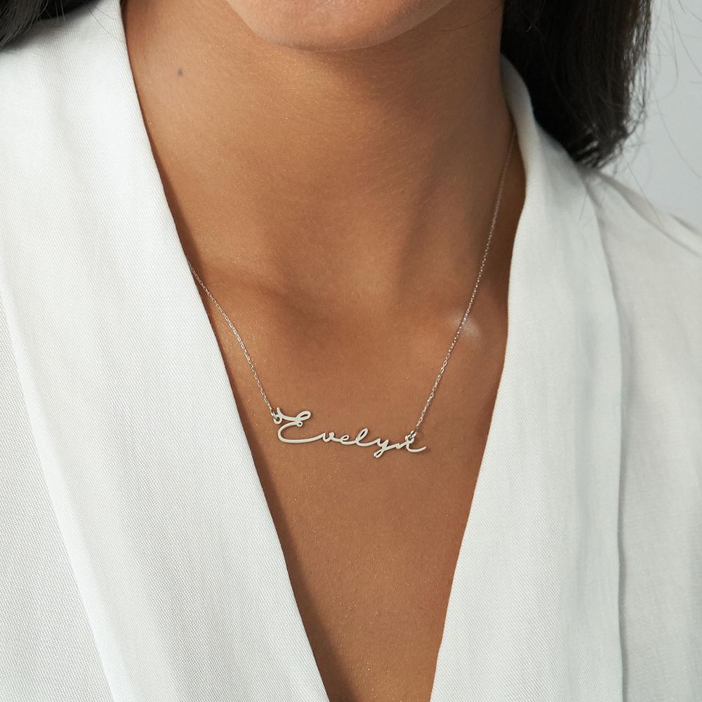 Personligt Handskrivet Namn Halsband - vitt guld - 2