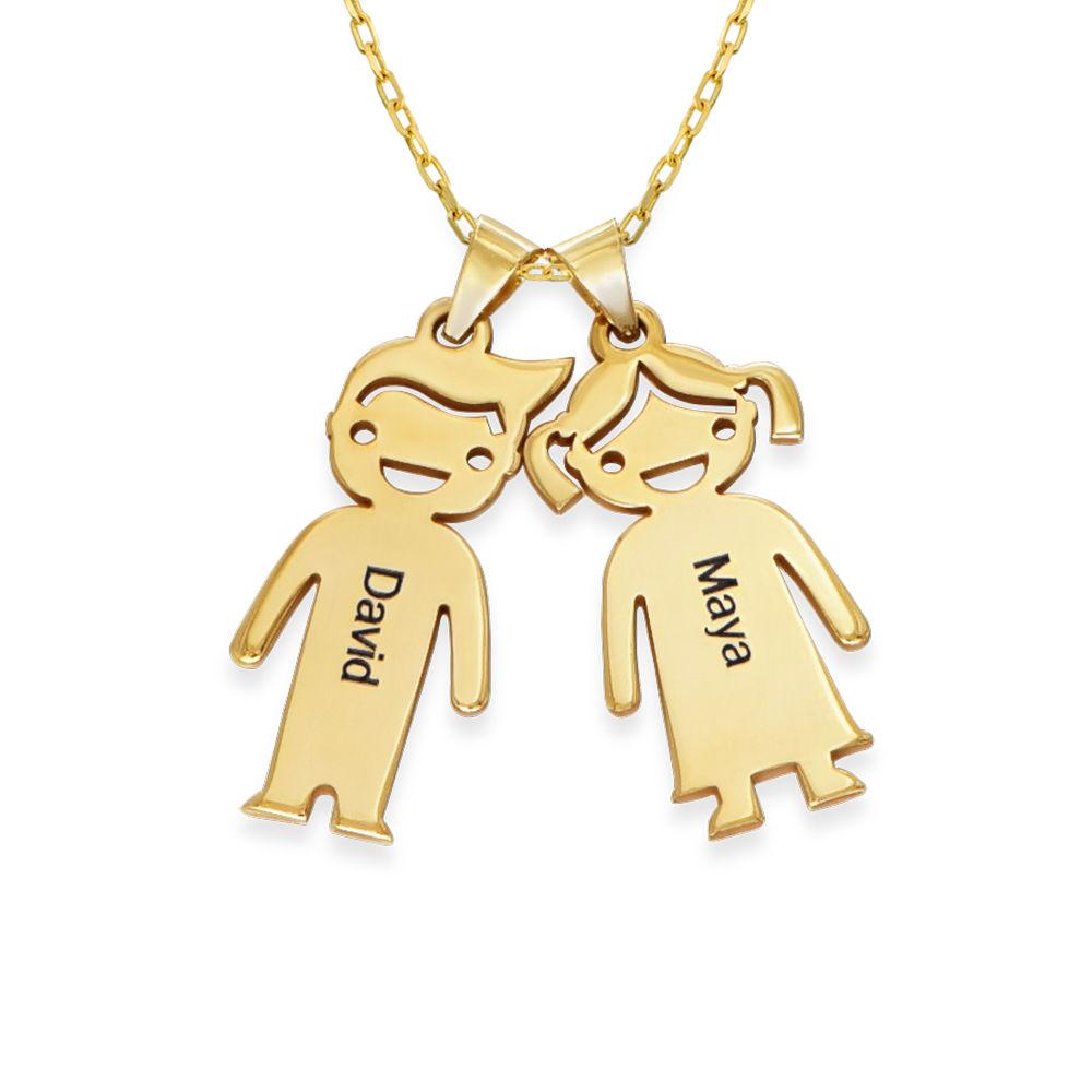 Mammahalsband med barnberlocker i 10 k guld