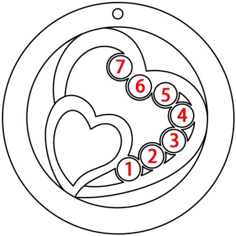 Hjärta i Hjärta med månadsstenar Halsband för mammor - 5