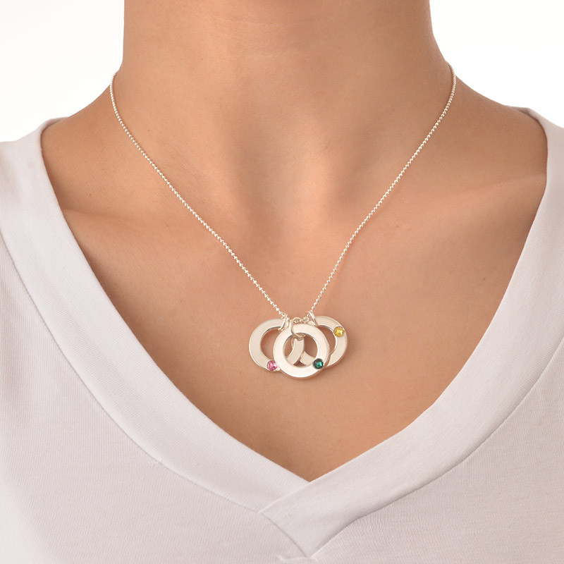 Månadssten halsband för Mor i Silver - 2