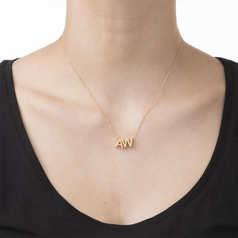 Personliga halsband med bokstäver för par med guldplätering - 3