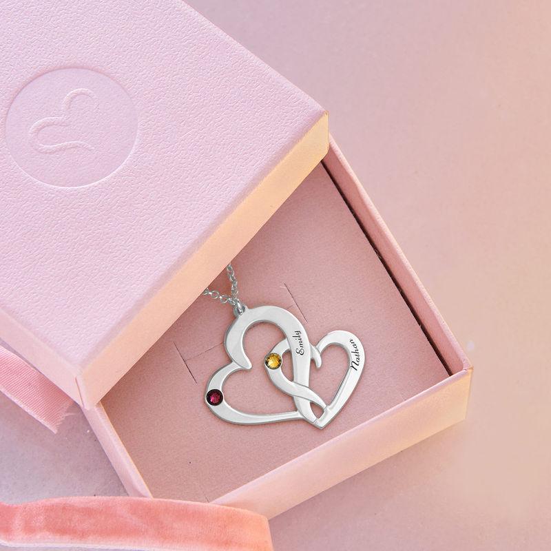 Två Hjärtan Halsband med Gravyr i Silver - 4