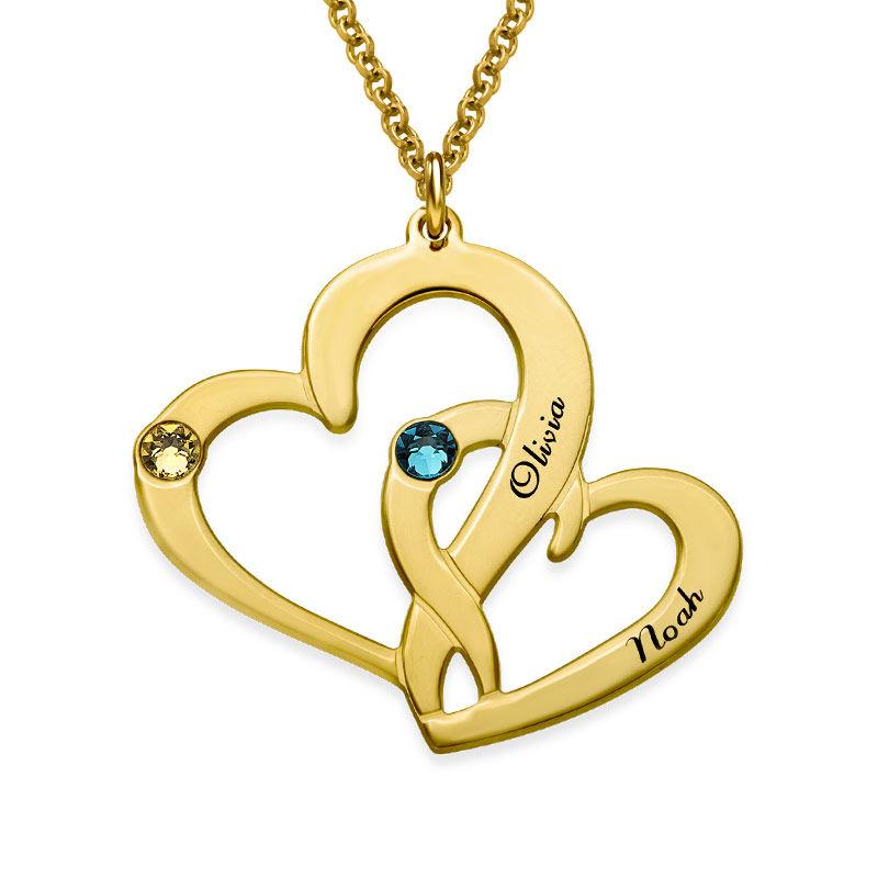 Två Hjärtan Halsband med Gravyr i Guldplätering