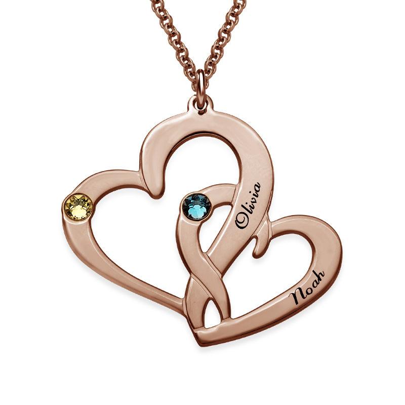 Två Hjärtan Halsband med Gravyr i 18 karat guldplätering