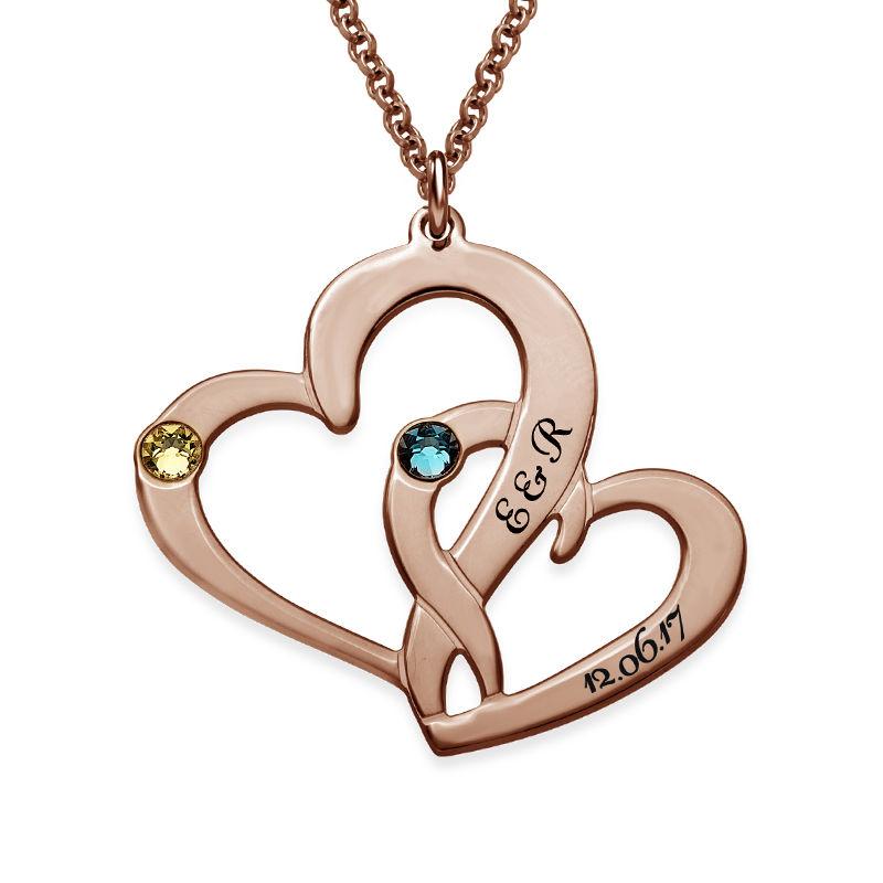 Två Hjärtan Halsband med Gravyr i 18 karat guldplätering - 1