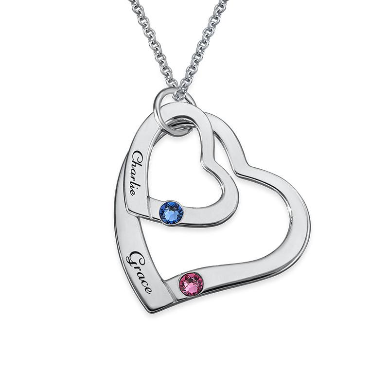 Hängande Hjärta i hjärta Halsband med  månadsstenar