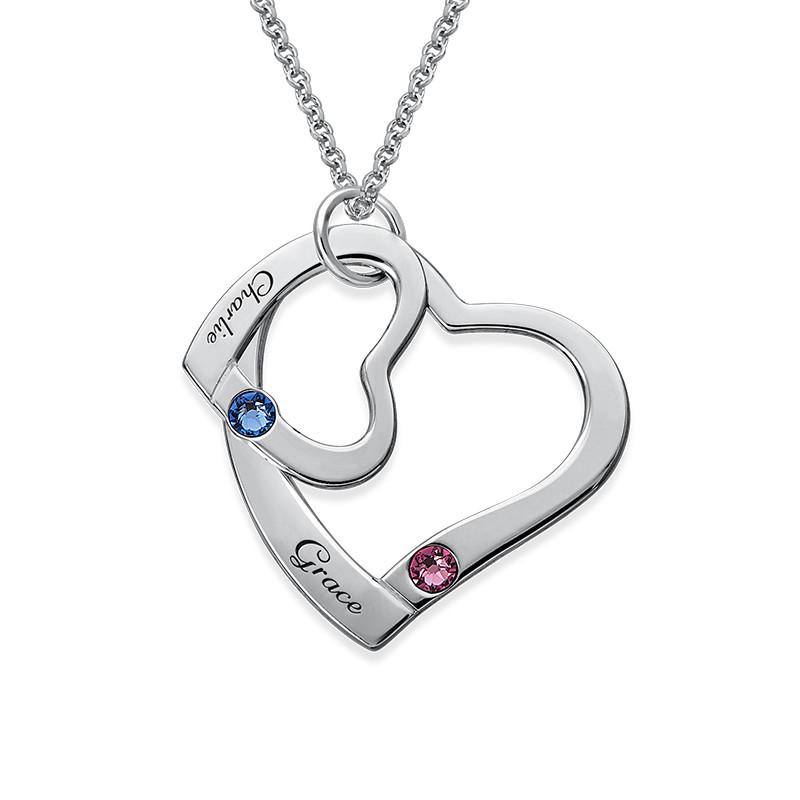 Hängande Hjärta i hjärta Halsband med  månadsstenar - 1