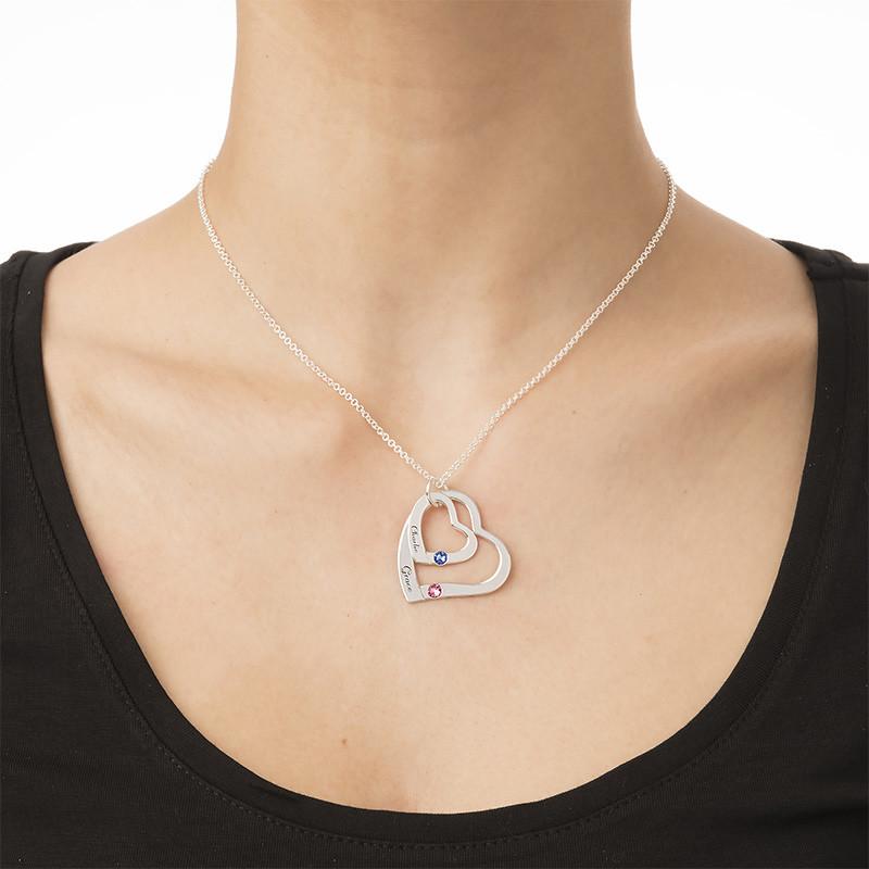 Hängande Hjärta i hjärta Halsband med  månadsstenar - 3