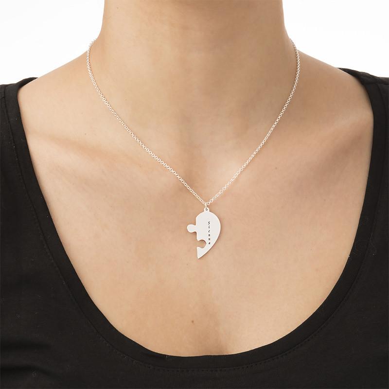 Hjärtpussel halsband med gravering - 3