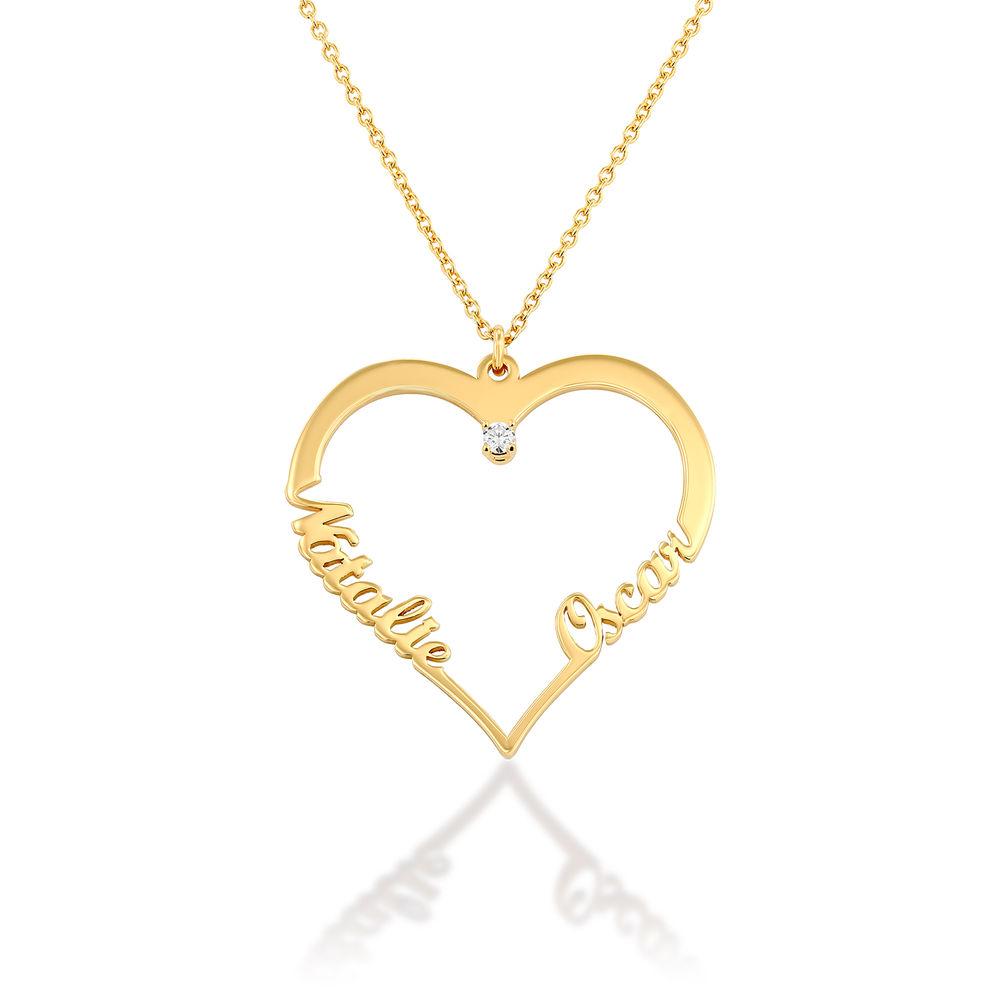 Hjärthalsband med personlig text i guldplätering med diamant