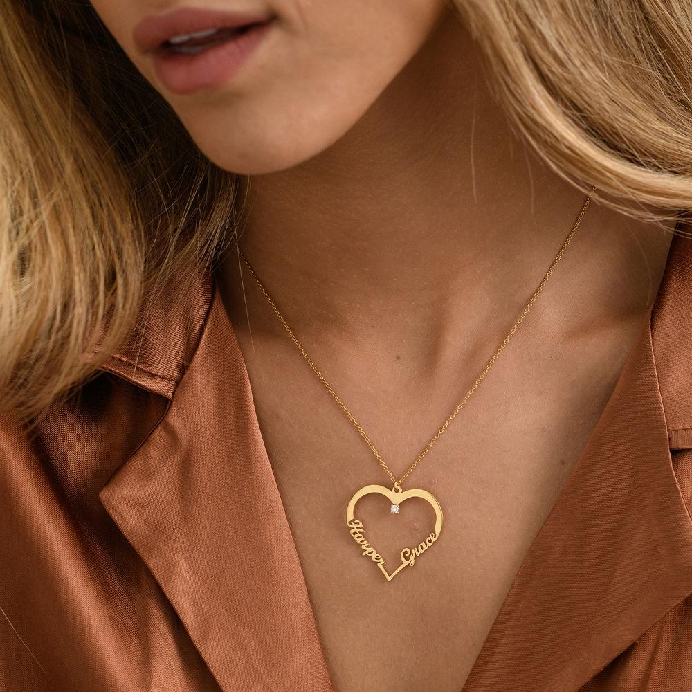 Hjärthalsband med personlig text i guldplätering med diamant - 2