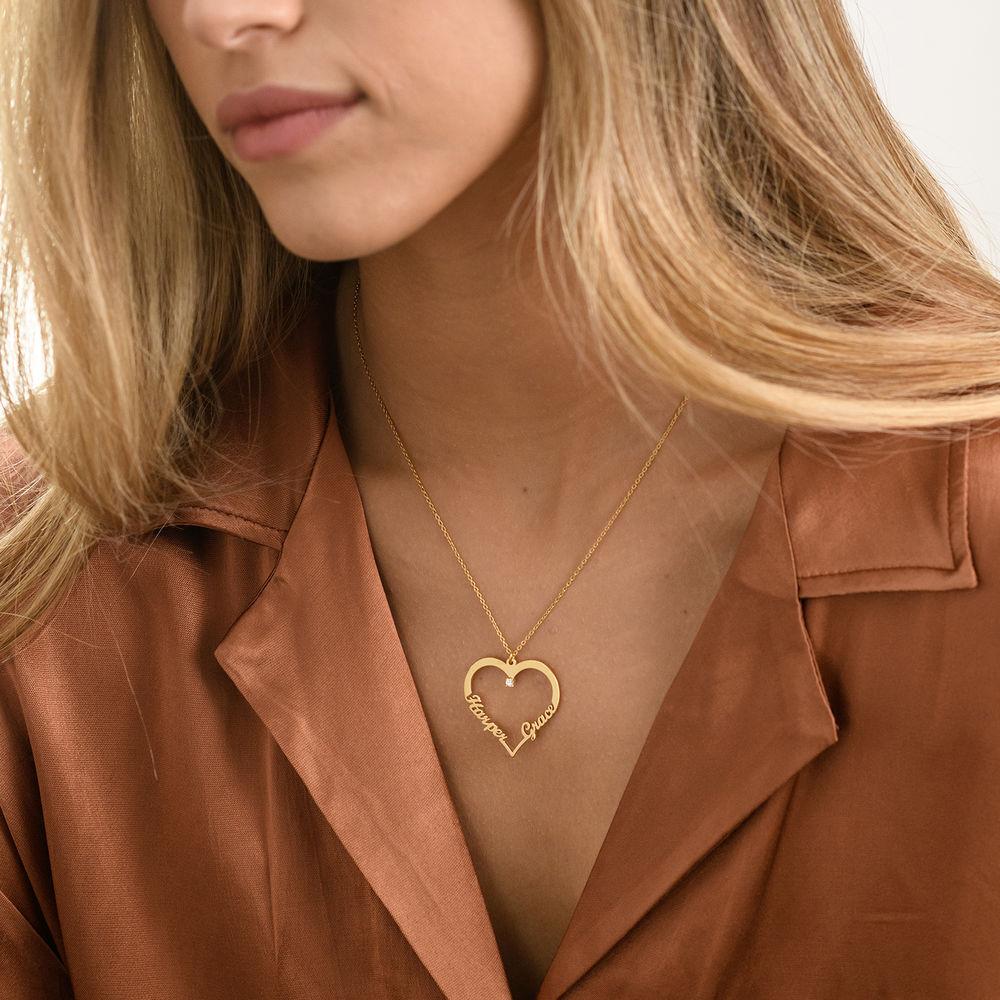 Hjärthalsband med personlig text i guld vermeil med diamant - 1